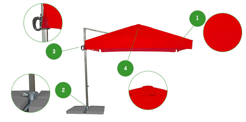 Szczegóły techniczne parasola Rio 3m draloon bordowy