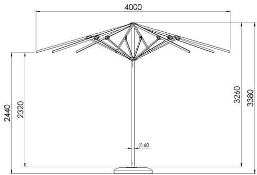 Rysunek techniczny parasola ogrodowego Rodos 4m